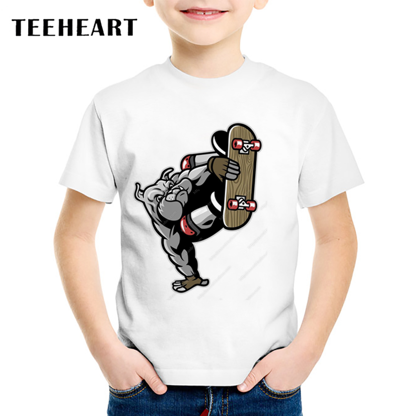 2017 Neue Marke Jungen/mädchen Kühle Französisch Skateboard Bulldog Design T-shirt Lustige T-shirts Für Kinder Harajuku Kleidung Ta511