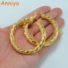 Anniyo(три размера) 5,9 см/7 см/8 см африканские большие серьги для женщин, золотые и латунные витые серьги арабские/эфиопские#003006