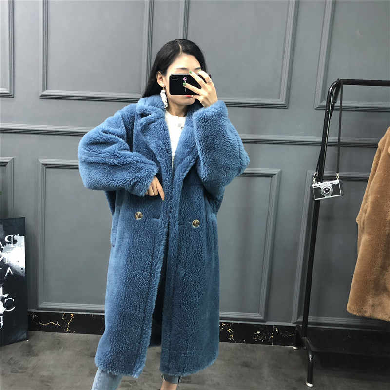 Women fur overcoat Teddy bear sheep shearing fur long wool coat thick warm ladies suede clothing