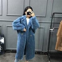 Новое большое название меховое пальто плюшевый медведь оторочка из овечьей шерсти одно длинное шерстяное пальто толстая теплая Женская за