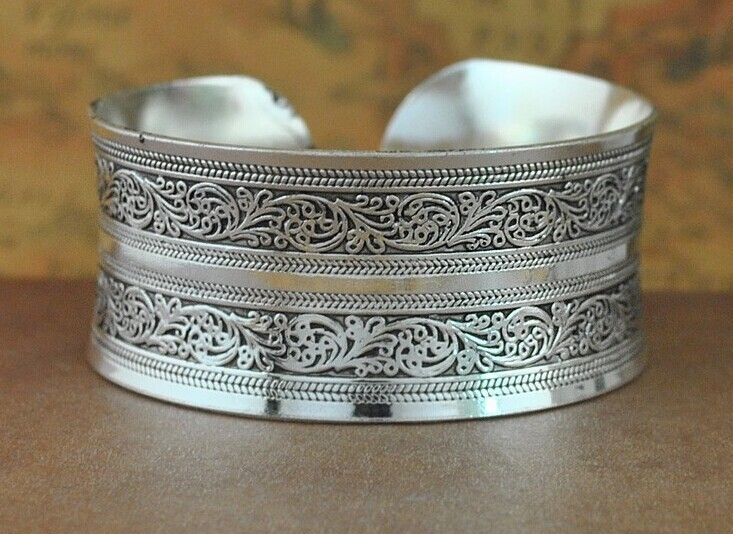 HOTSALE Bohemian Antalya bangles,antique Silver plated carve pattern Statement, Boho Coachella, DROP SHIPPING style1