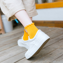 2019 Korean Japanese solid color pile socks women Cute campus fungus lace loose cotton
