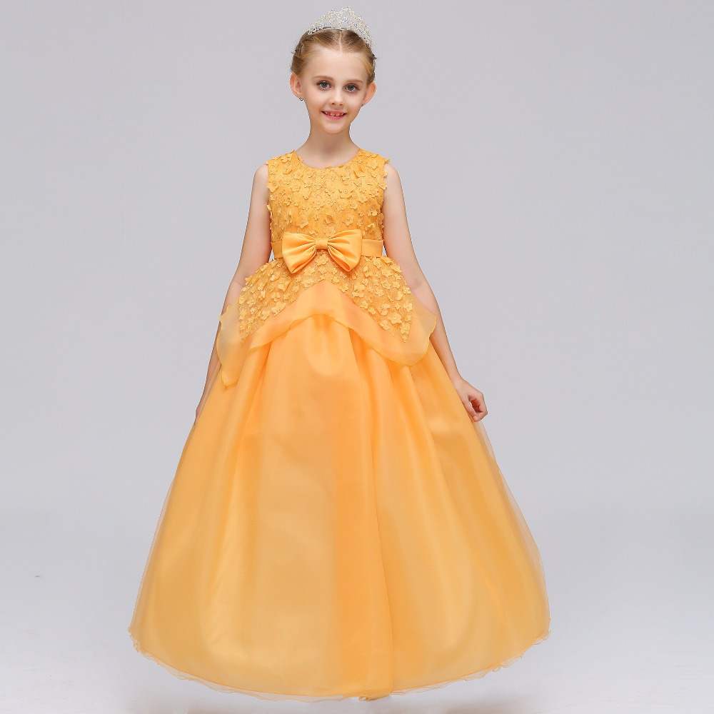 2019 New Arrival   Flower     Girl     Dresses   With Bow Gold Party   Dress   For Little   Girl   Pretty Elegant Formal Summer Gown