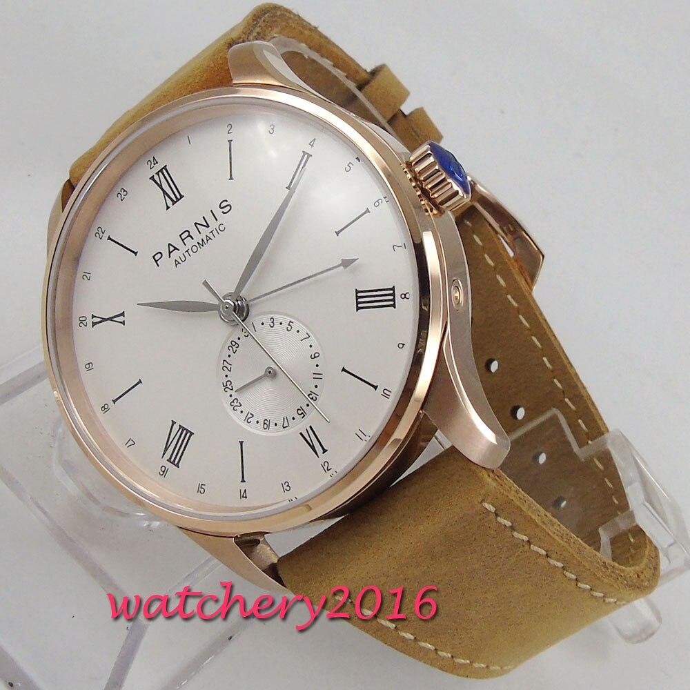 2019 New Arrival 42mm PARNIS biała tarcza cyframi rzymskimi SS Case klasyczny Top marka luksusowe ST automatyczny ruch mężczyźni zegarki damskie w Zegarki mechaniczne od Zegarki na  Grupa 1