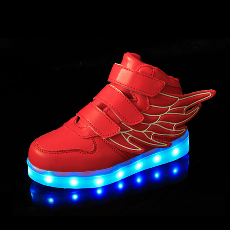 Mamimore Size 25-37 Kids Glowing Sneakers with USB Charging Led Light Casual Boys Girls Shoes Fashion Luminous Children Shoes