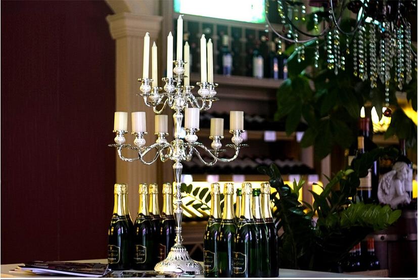 H77cm13arm металлический подсвечник роскошный Ресторан Декор серебряные подсвечники металлические фонари свадьба канделябры