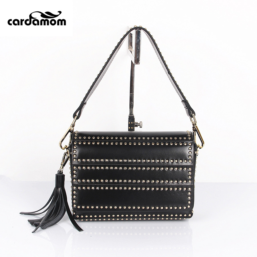 все цены на Cardamom Genuine Leather Crossbody Bags Women Messenger Bag Rivet Fashion Ladies Flap Handbags Bolsas Femininas