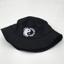 [Which in shower]women men printed Chinese letter bucket hat hip hop sun hat yinyang summer panama women men fishing cap boonie