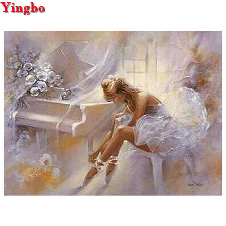 5D DIY Diamond Lukisan Ballet Girl Piano Persegi Bulat Diamond Bordir Kristal Dekorasi Rumah Cross Stitch Mosaik Diamond