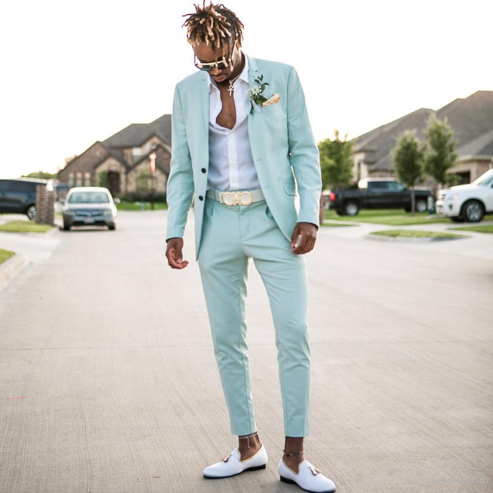 Mint Green Mens Suits Slim Fit Two Pieces Beach Groomsmen Wedding Tuxedos For Men Peaked Lapel Formal Prom Suit (Jacket+Pants)