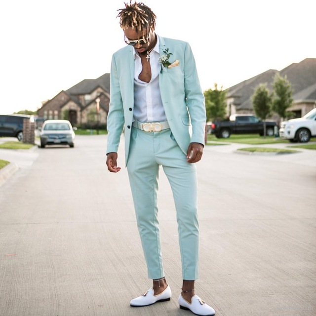 Mint Green Mens Suits Slim Fit Two Pieces Beach Groomsmen Wedding Tuxedos For Men Peaked Lapel Formal Prom Suit Jacket Pants
