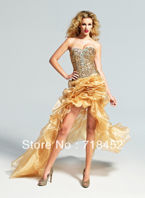 2013 Sequin Rhinestone Prom Dress Gold Organza Front Short Long Back ...