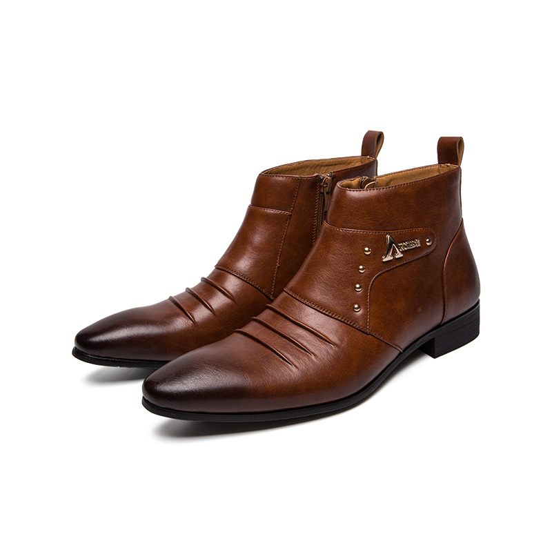 Bonito Alta Top Quente Hombres Do Couro Moda De Cavalheiro Zapato Ectic marrom Legal Homens Botas Preto Metalic Genuíno Inverno Nova Punk x7qwW8PW0