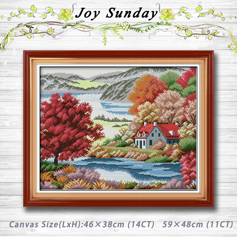 Cross-stitch Package Red Maple Homeland Scenery Counted Cross Stitch Sets Dmc 11ct 14ct Cross Stitch Kits Embroidery Needlework Chinese Cross Stitch To Have A Long Historical Standing