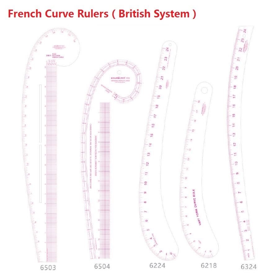 French Curve Ruler In British System English System Imperial Units Foot Rule; Patchwork Rulers #6503 #6504 #6224