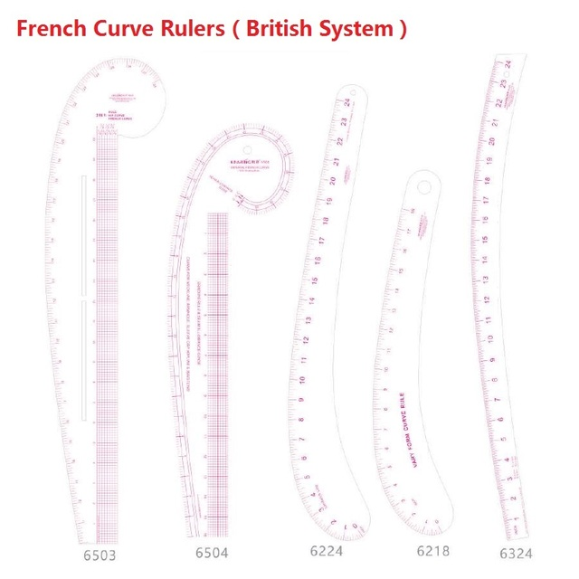 French Curve Ruler in British System English System