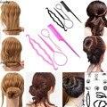 4 em 1 Conjunto de Cabelo Conjunto Clipe Bun Criador Styling Braid Torção cabelo Vara Ferramenta Acessório de Cabelo Rabo de Cavalo Acessórios de Plástico Senhora Meninas