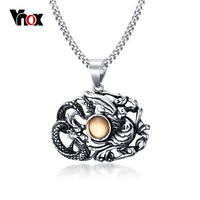 Vnox Vintage Dragon Phoenix Necklace Pendant For Men Stainless Steel Chinese Style Lucky Jewelry