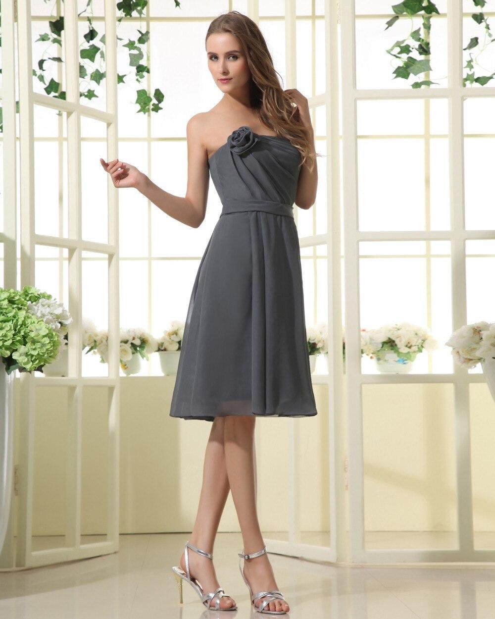 Romantic Grey Silver Bridesmaids Dresses Short Chiffon Empire Waist ...