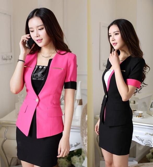 2015 лето с коротким рукавом деловые костюмы формальные едином стиле юбка для женщин с курткой и юбка офис дамы рабочая одежда