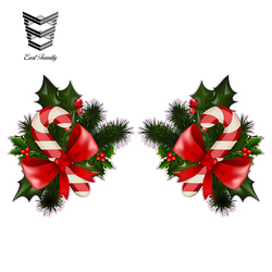 EARLFAMILY 13cm x 7.2cm Christmas Candy Cane with Mistletoe Right Left Wall Decoration Vinyl Decals DIY Waterproof Car Stickers