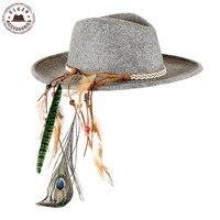 Vintage Unisex Wool Jazz Hats Large Brim Felt Cowboy Panama Fedora Hat For Women Feather Headband