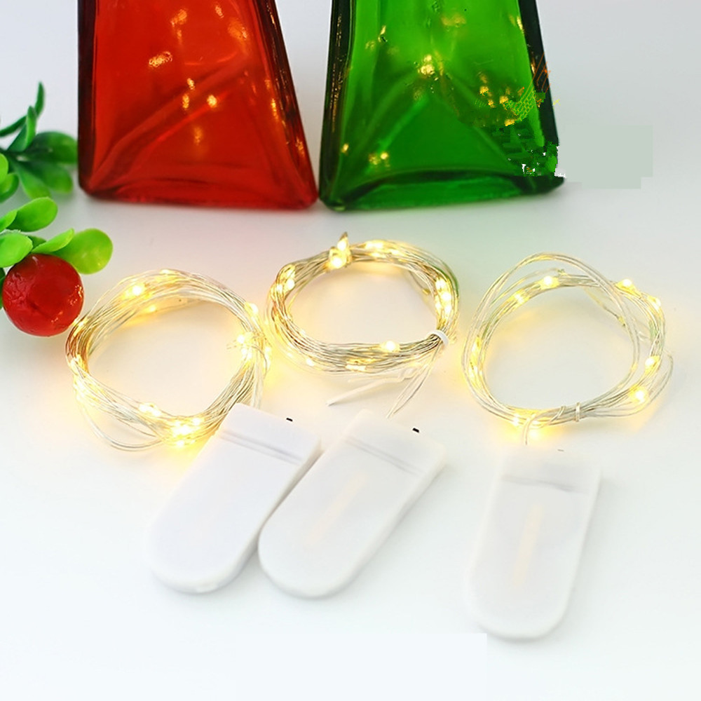 2M 1M LED Copper Silver Wire String Lights Fairy Garland For New Year Christmas Home Wedding Decoration Battery Operated
