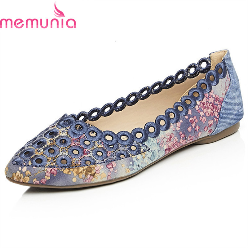MEMUNIA 2018 new arrive women flat shoes Openwork 2.5cm simple top quality fashion single shoes big size 34-42 memunia 2018 fashion new arrive women