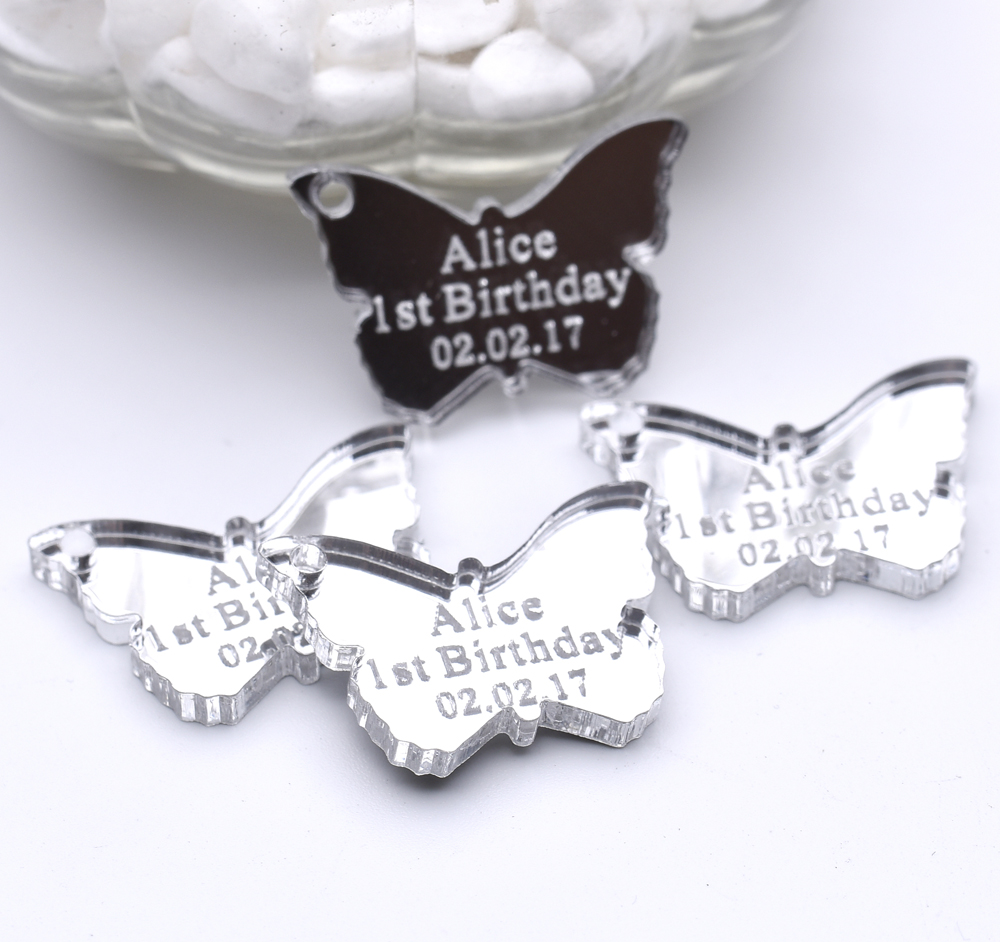 100PCS Personalized Wedding Tag Mirror Engraved  Love Butterfly Table Centerpieces Baby Shower Birthday Gfit Favors