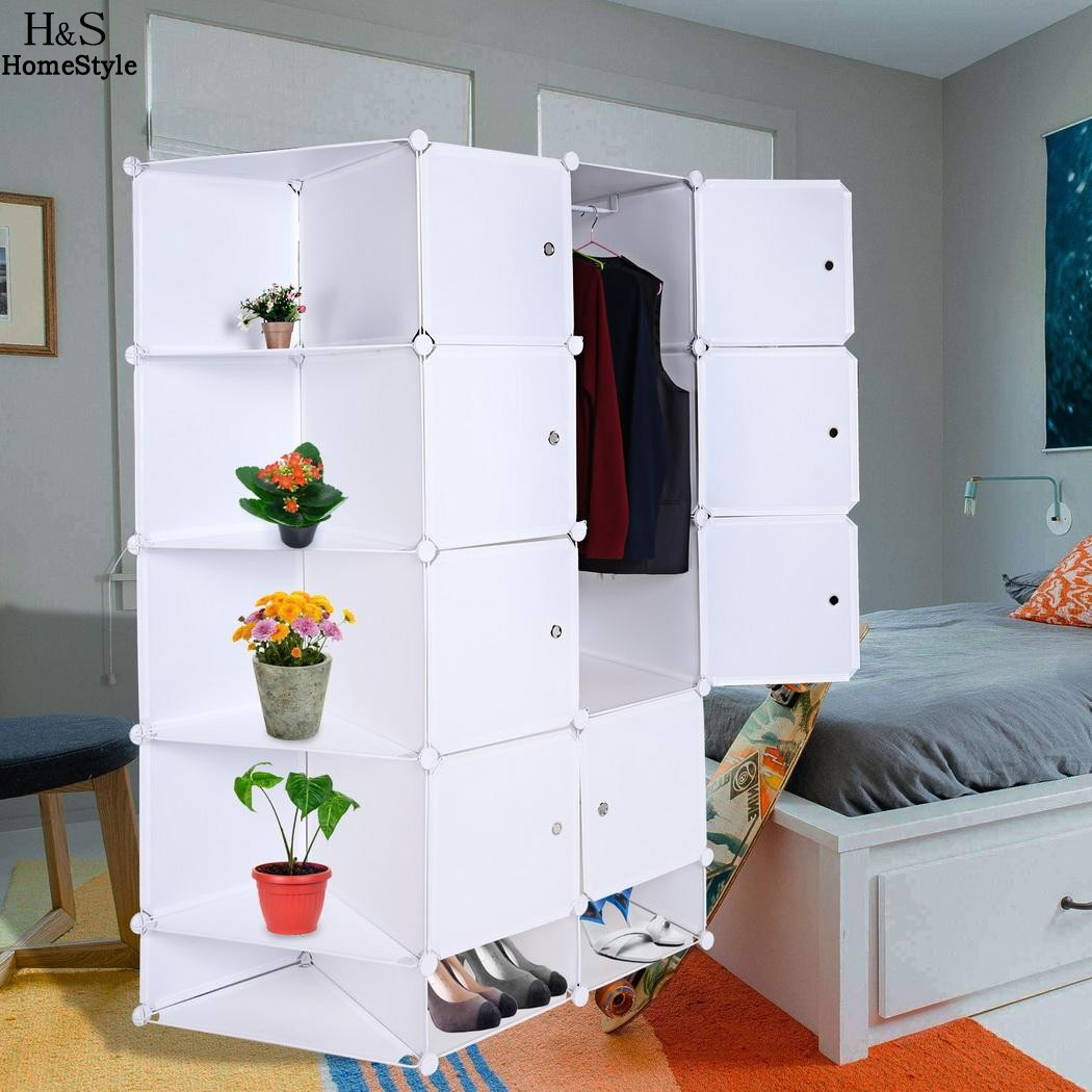 Homdox Folding Combination Cube Cupboard Cabinet Closet Storage Organizer 2 Column 5 Layer DIY Bedroom Book Toy Cabinets N30A