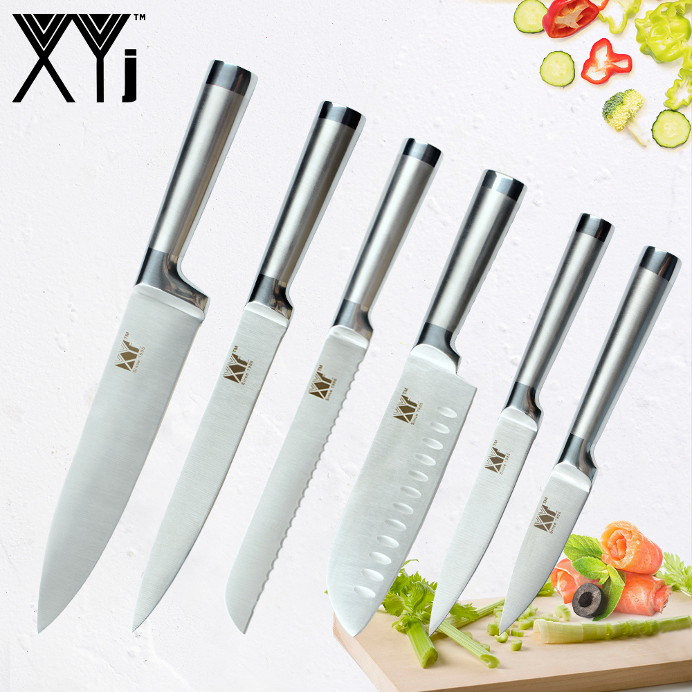 XYj Hot Stainless Steel Knives Paring Utility Santoku Chef Slicing Bread Kitchen Cooking Knife Accessories Stainless