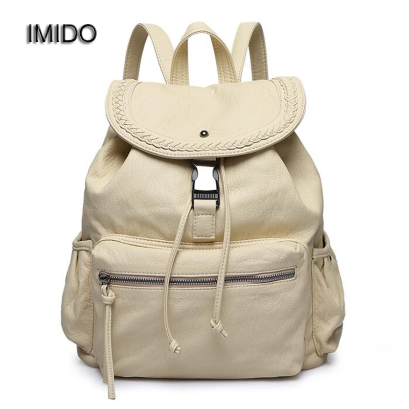 IMIDO New Brand design leather backpacks women bags travel backbag safe casual shoulder backpack girl School