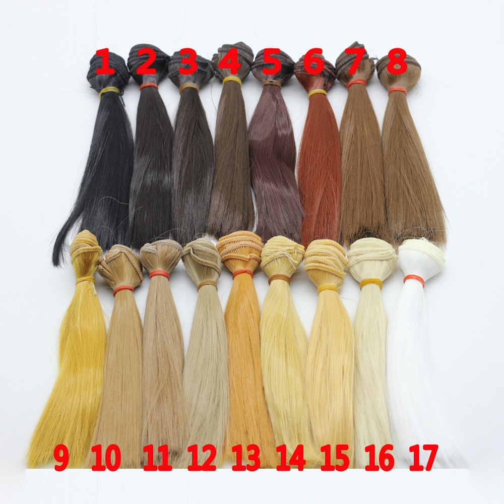 1pcs 15cm length natrual color thick 1/3 /1/4 1/6 bjd wigs doll hair wig refires bjd hair 25cm length black brown flaxen golden natrual color long straight wig hair for 1 3 1 4 bjd diy