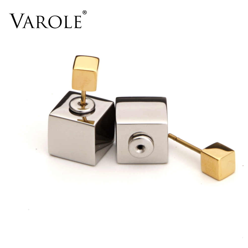 VAROLE 2017 Double Sided Square Cubes Earring Gold Color Stud Earrings Stainless Steel for Women Jewelry Best Present Brincos