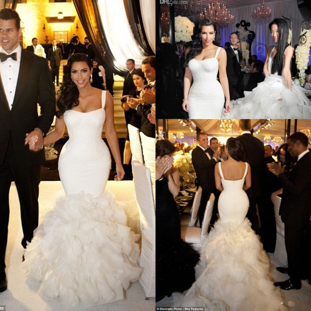 Kim K Wedding Gown: Luxury White Mermaid Kim Kardashian Wedding Dresses Oganza
