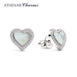 ATHENAIE 925 Sterling Silver Mother of Pearl & CZ Love Me Heart Stud Earrings for Women & Girls Jewelry