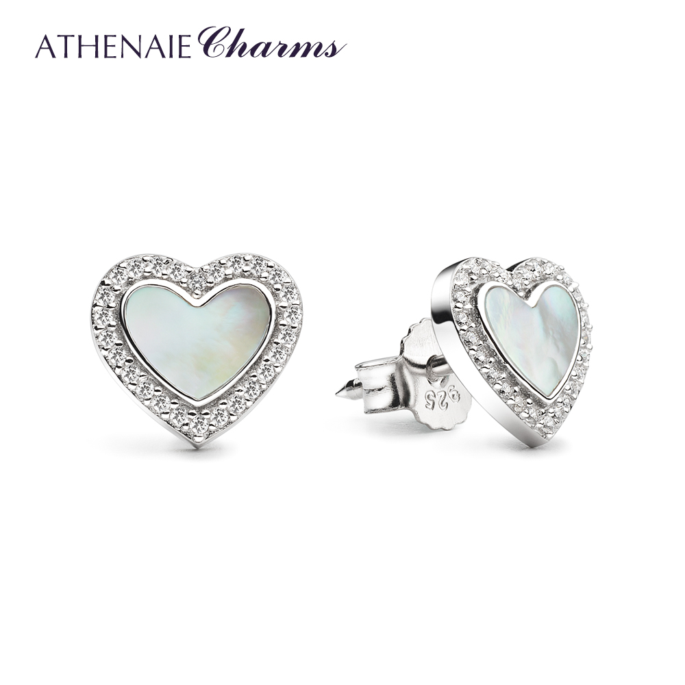 ATHENAIE 925 Sterling Silver Mother of Pearl & CZ Love Me Heart Stud Earrings for Women & Girls Jewelry