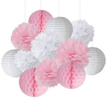 12PCS Mixed Pink / White Party Tissue Pompoms