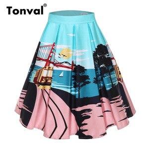Image 4 - Tonval faldas plisadas con estampado Floral Retro para mujer, faldas plisadas Vintage, de cintura alta, de talla grande, Midi, de algodón, para verano, 4XL