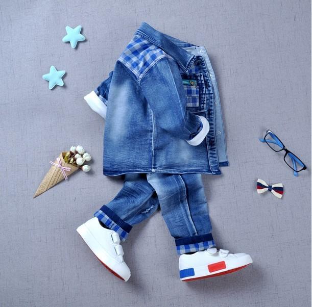 0-3Y new 2016 outono meninos de alta qualidade xadrez patchwork denim jacket + t-camisa + calça conjuntos de roupas 3 pcs roupa dos miúdos conjuntos meninos calças de brim