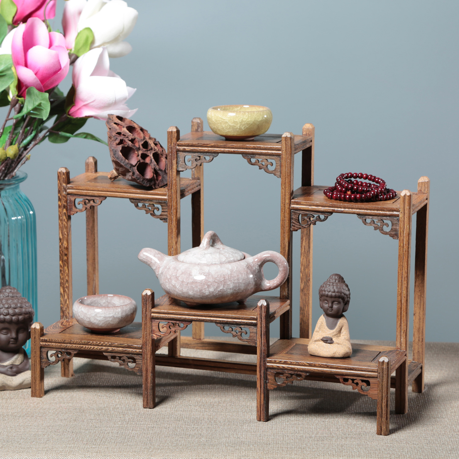Living Room Desk Decoration Wenge Display Stand Curio Box Statues Antique Shelf Rosewood Table