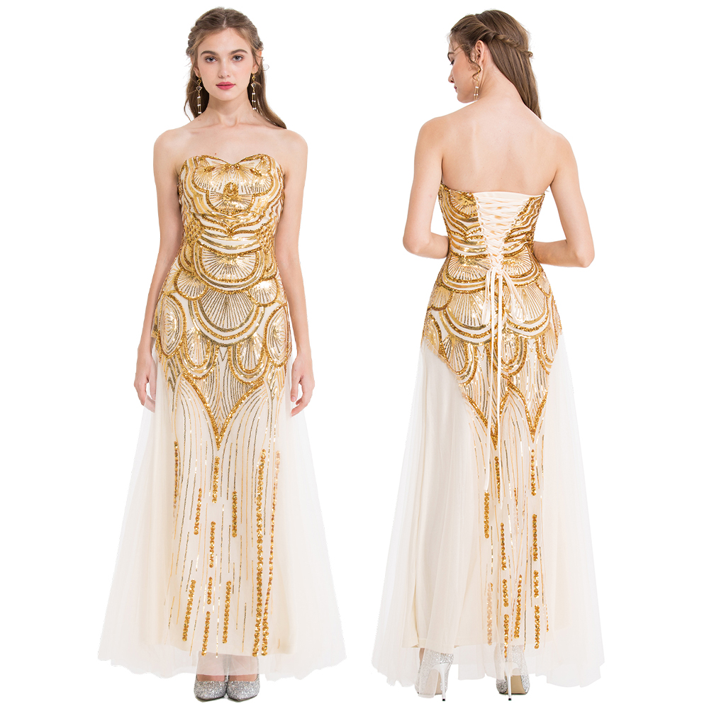 Gold Vintage Sequin Prom Dress 1920S
