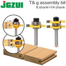 """2 Pc 8Mm ShankคุณภาพสูงTongue & Groove Joint AssemblyชุดRouterชุดBit 3/4 """"Stockตัดไม้เครื่องมือ RCT"""