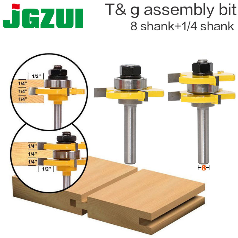 2 Unid 8mm Shank alta calidad Tongue & Groove Asamblea Conjunta Router Bit Set 3/4