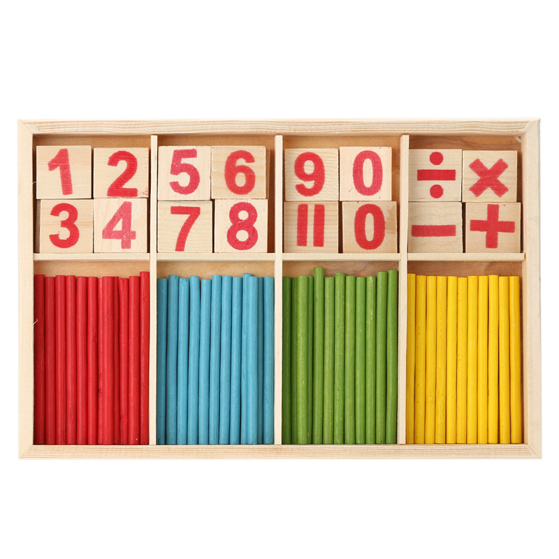 купить Children Wooden Mathematics Puzzle Toy Kid Educational Number Math Calculate Game Toys Early Learning Counting Material for Kids недорого