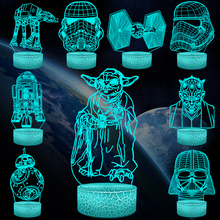 цена Cartoon Star War Yoda BB-8 R2D2 Darth Vader Stormtrooper 3D Lamp RGB LED USB Night Light Multicolor Touch Remote Luminaria Table онлайн в 2017 году