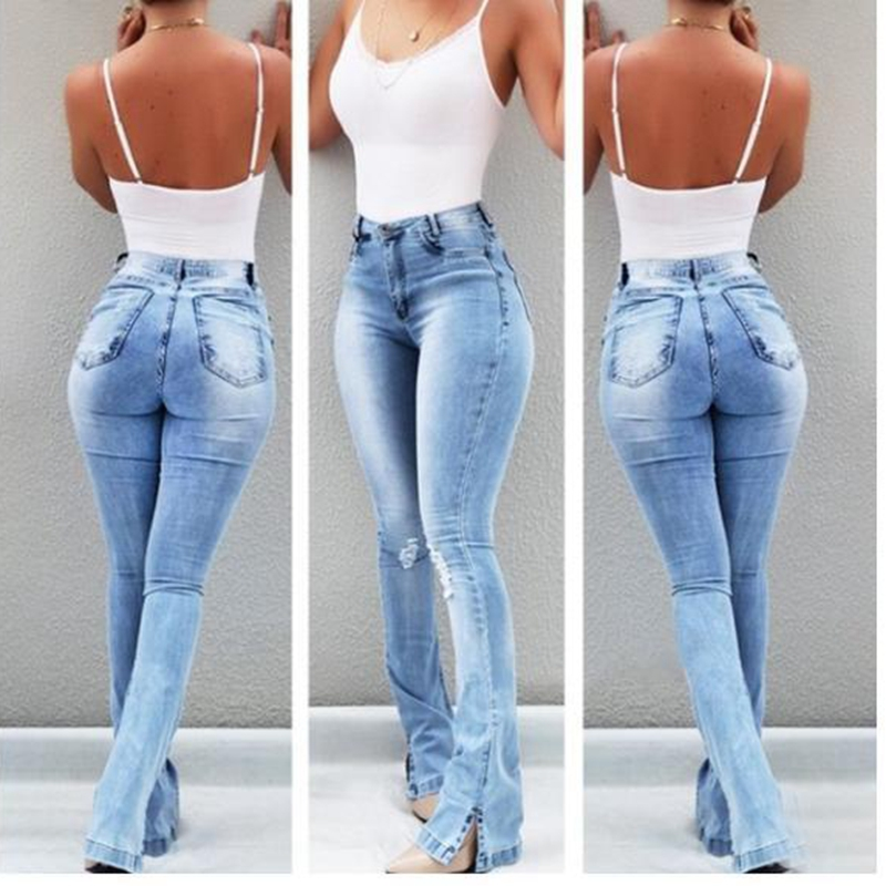 CALOFE 2019 Women 39 s Jeans Casual Slim Stretchy Denim Waist Jeans Oversized Long Flare Pants Light Blue Trousers for Women in Jeans from Women 39 s Clothing