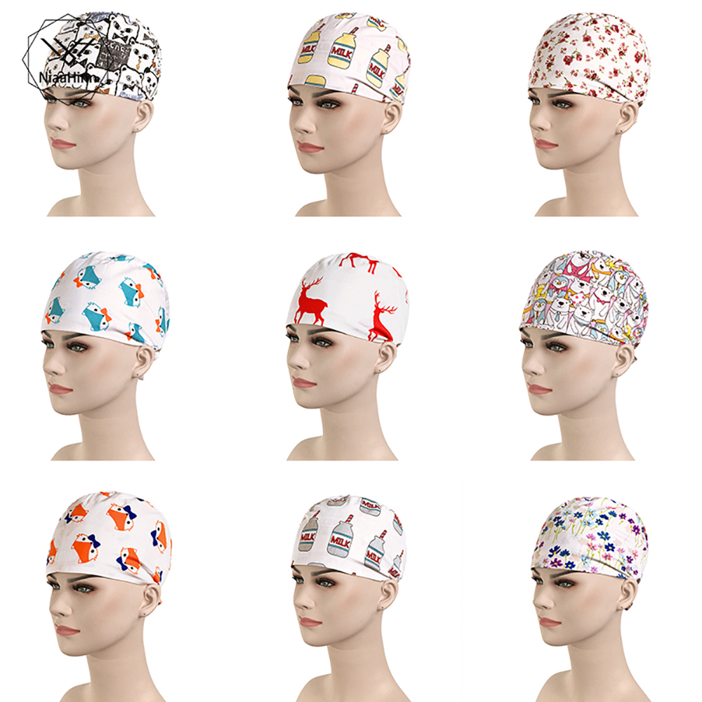 New Unisex Beauty Salon Working Cap Men Medical Surgical Surgery Hat Pet Hospital Pharmacy Doctor Nurses Printing Cap Doctor Hat