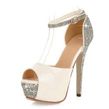 Glittering Size 34-43 Sexy High Heels Platform Shoes Pumps Women's Dress Fashion Wedding shoes lady Pumps