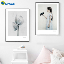7-Space Girl Flower Canvas Painting Posters And Prints Pop Art Nordic Poster Wall Style Kids Decoration